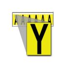 Identification Marker, Plastic Coated Cloth, Black Legend, Yellow Background, Y, 2.94 in. H