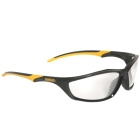 Safety Glasses, Black/Yellow Frame, Clear Anti-Fog and Hardcoat Lens