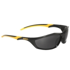 Safety Glasses, Black/Yellow Frame, Smoke Hardcoat Lens
