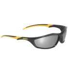 Safety Glasses, Black/Yellow Frame, Silver Mirror Hardcoat Lens