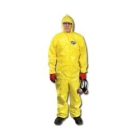 Coverall, X-Large, Yellow, Chemical Spray, Polyethylene Film/Spunbond Polypropylene, 1.25 oz