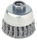 Knot Wire Cup Brush, 2.75 in. Dia, 3/8-24, Stainless Steel, 14000 RPM, 0.02 in.