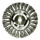 Wire Wheel, 6 in. Dia, 5/8 in. - 1/2 in. Mounting, Carbon Steel, Knot, 0.023 in. Wire