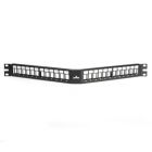 Patch Panel, 24 Ports, 1U Rack, 1.75 x 19.00 in., Modular Jack/Multimedia Insert Outlet, Black