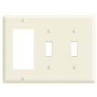 Combination Wall Plate, Larger/Mid-Size, 3 Gangs, Toggle Switch/Decorator/GFCI, Nylon, White