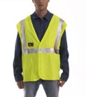 Safety Vest, Fluorescent Yellow-Green, Flame Resistant, Large to X-Large, 2 in. Silver Reflective Tape