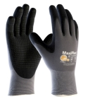 Unisex Work Gloves, 2X-Small, Gray Shell, Black Coating, Seamless Knit Wrist, Purple Hem Cuff