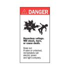 Transformer Marker, Danger - Hazardous Voltage, Black/White Legend, Tamper-Resistant Film, 4.50 in. L