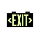 Safety Information Sign, Exit, Glow Green Legend, Photoluminescent Plastic, Bracket Mounting