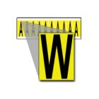 Identification Marker, Legend: W, B-498 Plastic Coated Cloth, Black Legend, Yellow Background