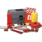 Lockout Kit, Tool Box, Contents: (4) Plastic Padlock Padlocks, (2) Yellow Hasp Lockout Hasps