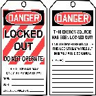 Write On Danger Tag Cardstock Black, Red and White Danger - Locked Out Do Not Operate. This Energy Source Has Been Locked Out! - 64930CTP