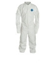 Coverall, White, Medium, Zipper, Laydown Collar, Open Wrists and Ankles, Tyvek, Fabric