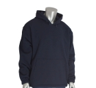 Hooded Sweatshirt, Flame Resistant, 2X-Large, Jersey/Velour, 12.5-oz, Navy