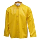 Rain Jacket, Polyester, PVC, X-Large, Yellow, Coat Length, Hoodless, Snaps - Storm Fly Front