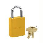 Safety Lockout Padlock, Aluminum Body, Yellow, 1 in.