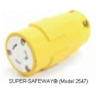 Locking Connector, 15A, 125V, 3P 3W Rubber Yellow