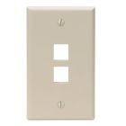 Wall Plate, 1 Gangs, 2 Ports, Ivory, Flush Mounting, Quick-Port Snap-In Module Configuration
