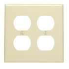 Wall Plate, Standard Size, 2 Gangs, Duplex Recept, Nylon, Brown