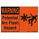 Safety Sign, Warning - Potential Arc Flash Hazard, 4.50 in. L x 2.25 in. H, Black Legend