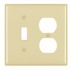 Combination Plate Ivory Nylon (1) Toggle Switch, (1) Duplex Recept
