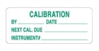 Write-On Inspection Label Polyester Green on White CALIBRATION BY DATE_NEXT CAL. DUE_INSTRUMENT#: