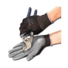 Work Gloves, Large, Gray, Knit Wrist Cuff, Lined, Polyurethane Palm, Nylon Back