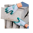 Work Gloves, Small, Gray/Green, Light Weight, Knit Wrist Cuff, Lined, Nitrile Palm