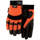 Mechanics Gloves, Large, Orange, Armorskin, Velcro Closure Cuff, Unlined, Synthetic Leather Palm