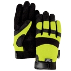 Mechanics Gloves, Large, Yellow, Armorskin, Velcro Closure Cuff, Unlined, Synthetic Leather Palm