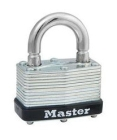 Padlock, Laminated Steel, Steel, Single Locking Lever, Warded, 13/16 in., 9/32 in., 1-3/4 in.
