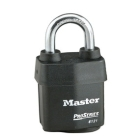 Tumbler Padlock, Laminated Steel, Black, Steel Shackle