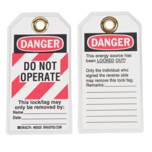 Details about  /BRADY LOTO Lock Box /& 25pk Brady 65525 Laminated// Polyester DoNot Operate Tags