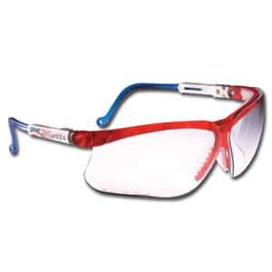 HONEYWELL UVEX S3260X Genesis® Safety Glasses Red//White//Blue Frame And Clear